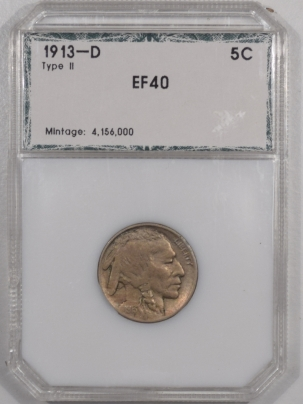 Buffalo Nickels 1913-D BUFFALO NICKEL TY II – EXTREMELY FINE IN THIRD PARTY HOLDER!
