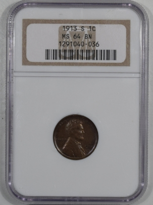 New Certified Coins 1913-S LINCOLN CENT – NGC MS-64 BN PREMIUM QUALITY!