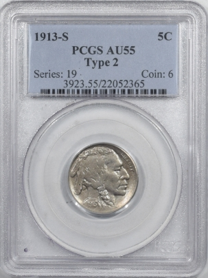 Buffalo Nickels 1913-S BUFFALO NICKEL TY II – PCGS AU-55 PREMIUM QUALITY!