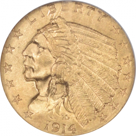 $2.50 1914 $2.50 INDIAN HEAD GOLD – NGC MS-61