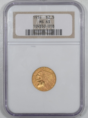 New Certified Coins 1914 $2.50 INDIAN HEAD GOLD – PCGS MS-63