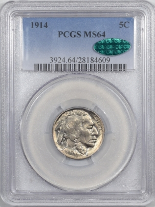 Buffalo Nickels 1914 BUFFALO NICKEL – PCGS MS-64 PREMIUM QUALITY & CAC APPROVED!