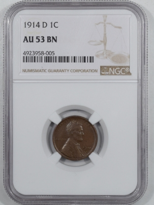 New Certified Coins 1914-D LINCOLN CENT – NGC AU-53 BN