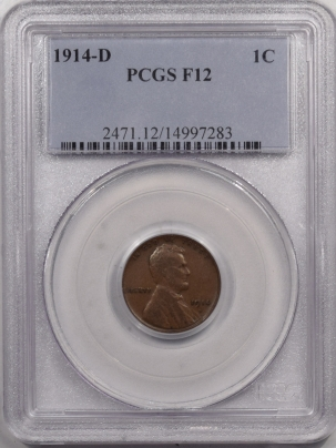 Lincoln Cents (Wheat) 1914-D LINCOLN CENT – PCGS F-12 KEY DATE
