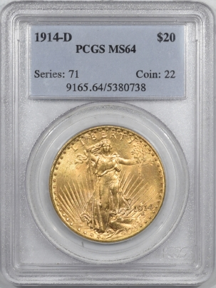$20 1914-D $20 ST GAUDENS GOLD – PCGS MS-64, FRESH & FLASHY, OLDER HOLDER