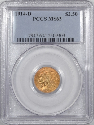 New Certified Coins 1914-D $2.50 INDIAN HEAD GOLD – PCGS MS-63