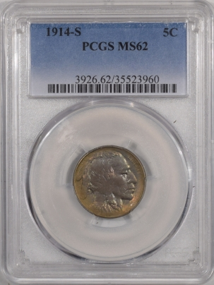 New Certified Coins 1914-S BUFFALO NICKEL – PCGS MS-62 PREMIUM QUALITY, AND PRETTY!