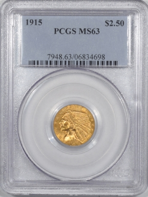 New Certified Coins 1915 $2.50 INDIAN HEAD GOLD – PCGS MS-63