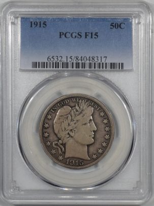 Coin World/Numismatic News Featured Coins 1915 BARBER HALF DOLLAR – PCGS F-15 ORIGINAL!