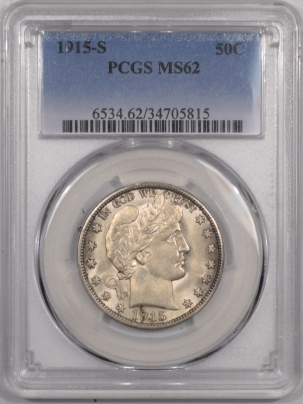 New Certified Coins 1915-S BARBER HALF DOLLAR – PCGS MS-62