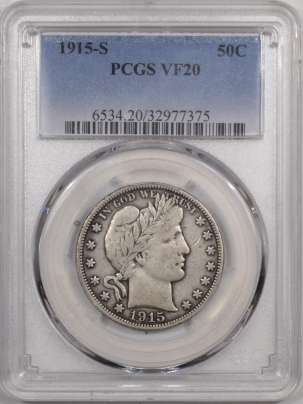 New Certified Coins 1915-S BARBER HALF DOLLAR – PCGS VF-20