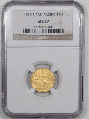 $2.50 1915-S $2.50 PANAMA PACIFIC GOLD – NGC MS-67