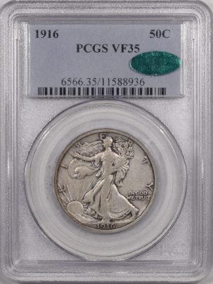 CAC Approved Coins 1916 WALKING LIBERTY HALF DOLLAR – PCGS VF-35, CAC APPROVED!