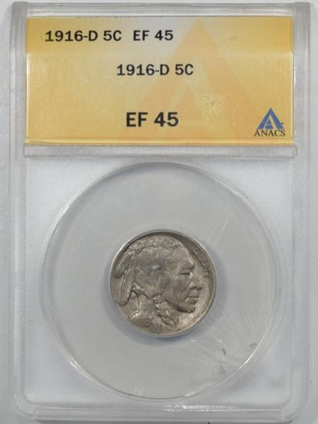 New Certified Coins 1916-D BUFFALO NICKEL ANACS EF-45, CRISP HORN