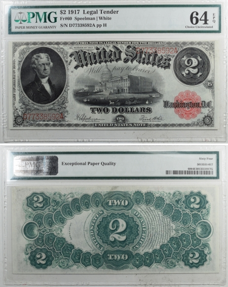 U.S. Currency 1917 4X $2 US NOTES LEGAL TENDER FR60 SPEELMAN/WHITE PMG EPQ 63/64/65/65 GEM UNC