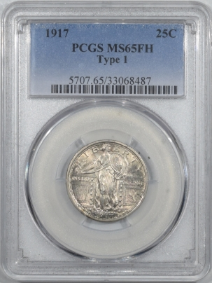 New Certified Coins 1917 STANDING LIBERTY QUARTER TY I – PCGS MS-65 FH