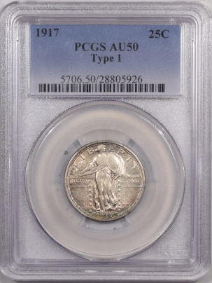 New Certified Coins 1917 STANDING LIBERTY QUARTER – TY 1 – PCGS AU-50