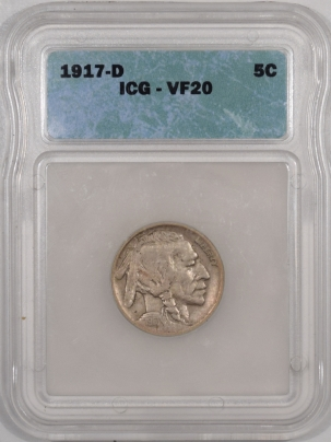Buffalo Nickels 1917-D BUFFALO NICKEL – ICG VF-20
