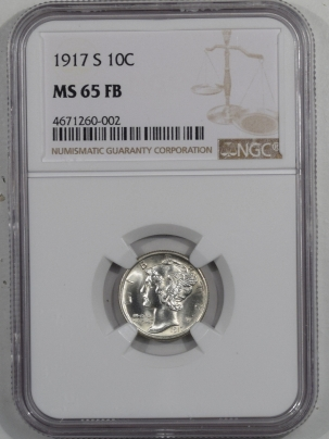 Dimes 1917-S MERCURY DIME NGC MS-65 FB, FLASHY MOSTLY WHITE GEM, TOUGH!