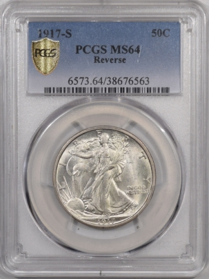 New Certified Coins 1917-S WALKING LIBERTY HALF DOLLAR – REVERSE – PCGS MS-64 WHITE & NICE!