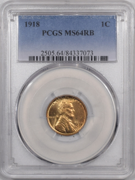 New Certified Coins 1918 LINCOLN CENT – PCGS MS-64 RB PREMIUM QUALITY!
