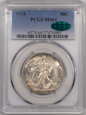 CAC Approved Coins 1918 WALKING LIBERTY HALF DOLLAR – PCGS MS-64, FLASHY, PQ & CAC APPROVED!