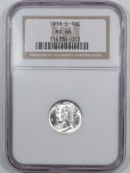 New Certified Coins 1918-D MERCURY DIME – NGC MS-66 BLAST WHITE & STRONG BANDS!