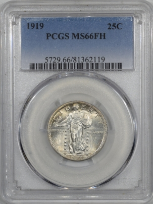 New Certified Coins 1919 STANDING LIBERTY QUARTER – PCGS MS-66 FH FLASHY & VIRTUALLY WHITE