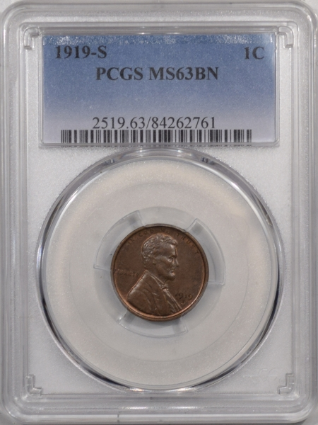 New Certified Coins 1919-S LINCOLN CENT – PCGS MS-63 BN PREMIUM QUALITY!