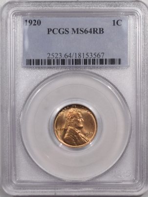 Lincoln Cents (Wheat) 1920 LINCOLN CENT – PCGS MS-64 RB FULL RED OBVERSE!