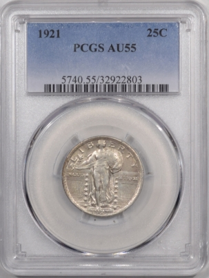 New Certified Coins 1921 STANDING LIBERTY QUARTER – PCGS AU-55
