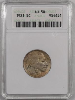 Buffalo Nickels 1921 BUFFALO NICKEL – ANACS AU-50