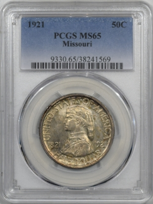 Early Commems 1921 MISSOURI COMMEMORATIVE HALF DOLLAR PCGS MS-65 ORIGINAL GEM, TOUGH!