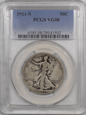 New Certified Coins 1921-S WALKING LIBERTY HALF DOLLAR – PCGS VG-08
