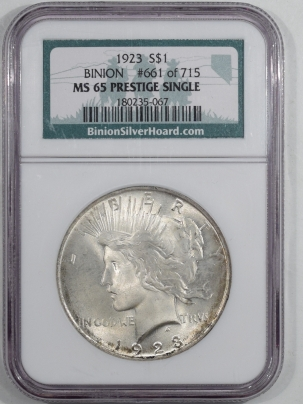 New Certified Coins 1923 PEACE DOLLAR – BINION PRESTIGE SINGLE #661 OF 715 – NGC MS-65