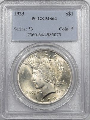 New Certified Coins 1923 PEACE DOLLAR – PCGS MS-64