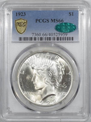 CAC Approved Coins 1923 PEACE DOLLAR PCGS MS-66 CAC, FRESH, BLAST ORIGINAL WHITE W/ GREAT SKIN, PQ!