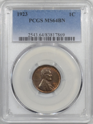 Lincoln Cents (Wheat) 1923 LINCOLN CENT – PCGS MS-64 BN, PREMIUM QUALITY!
