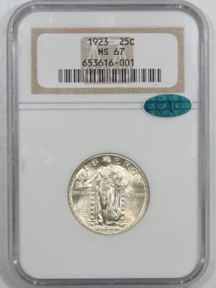 CAC Approved Coins 1923 STANDING LIBERTY QUARTER – NGC MS-67 PQ, VIRTUALLY FLAWLESS & CAC APPROVED!