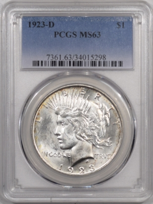 New Certified Coins 1923-D PEACE DOLLAR – PCGS MS-63 FLASHY!