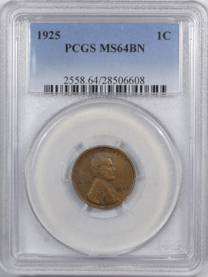 New Certified Coins 1925 LINCOLN CENT – PCGS MS-64 BN