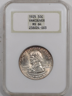 New Certified Coins 1925 VANCOUVER COMMEMORATIVE HALF DOLLAR – NGC MS-64, PREMIUM QUALITY! FATTY!