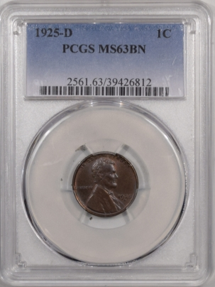 Lincoln Cents (Wheat) 1925-D LINCOLN CENT – PCGS MS-63 BN, PRETTY!