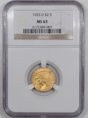 New Certified Coins 1925-D $2.50 INDIAN HEAD GOLD – NGC MS-63