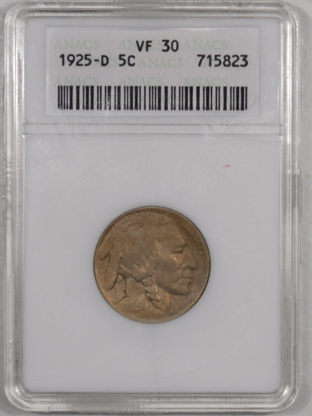 New Certified Coins 1925-D BUFFALO NICKEL – ANACS VF-30