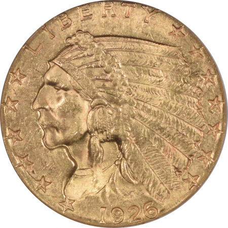 New Certified Coins 1926 $2.50 INDIAN HEAD GOLD – NGC MS-63