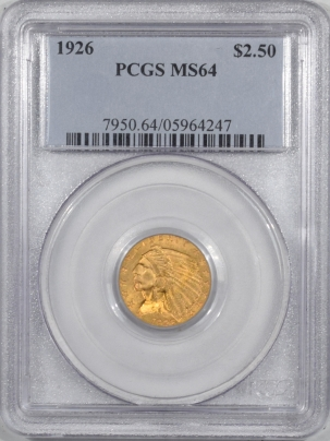 New Certified Coins 1926 $2.50 INDIAN HEAD GOLD – PCGS MS-64