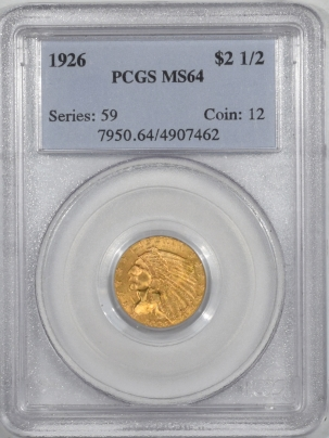 $2.50 1926 $2.50 INDIAN HEAD GOLD – PCGS MS-64