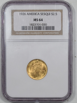 $2.50 1926 $2.50 SEQUICENTENNIAL COMMEMORATIVE GOLD – NGC MS-64