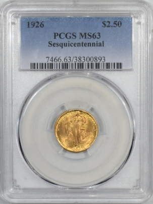 New Certified Coins 1926 $2.50 SESQUICENTENNIAL GOLD COMMEMORATIVE – PCGS MS-63